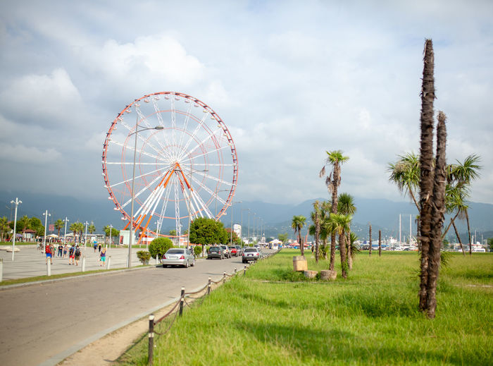 Ferris Wheel at the Batumo Georgia 2018 Batumi Summer Georgia Cloud - Sky Sky Amusement Park Arts Culture And Entertainment Nature Plant Amusement Park Ride Ferris Wheel Built Structure Tree Land Palm Tree Architecture Grass Day Tropical Climate Transportation Incidental People Building Exterior City Outdoors