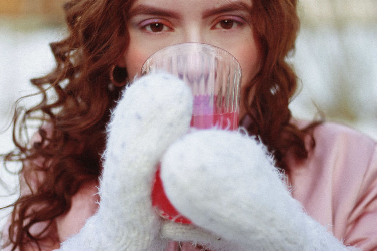 Pink, 2019 One Person Portrait Looking At Camera Lifestyles Real People Young Adult Front View Holding Headshot Women Young Women Adult Leisure Activity Winter Glove Hair Long Hair Warm Clothing Hairstyle Drinking Lemonade Winter Cold Temperature Makeup Pastel Colors My Best Photo