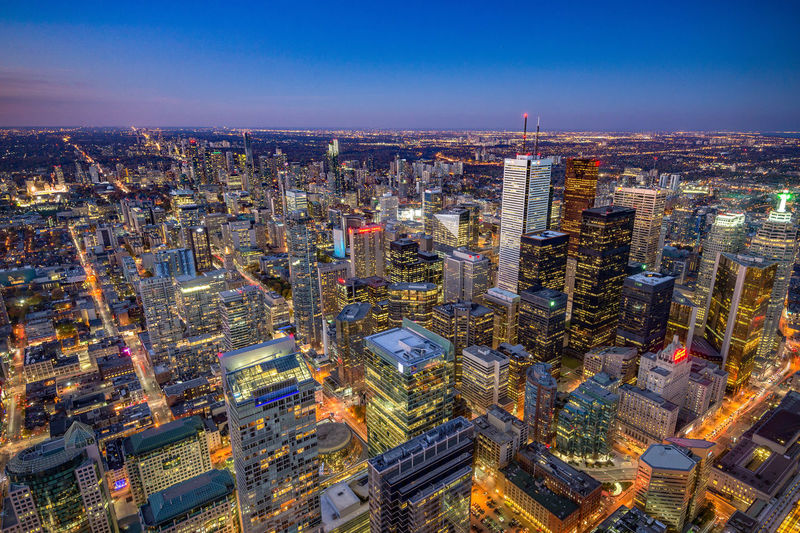 Toronto's financial district at dusk. Financial District  Toronto Twilight Architecture City City Life Dusk High Angle View Night Office Building Exterior Tall - High