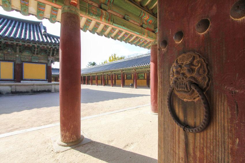 Old wooden door at Bulguksa temple in Gyeongju, South Korea Ancient ASIA Buddhism Bulguksa Courtyard  Culture Door Gyeongju Heritage Historical History Korea Korean Popular South Korea Temple Tour Tourism Travel UNESCO World Heritage Site Wooden Yard