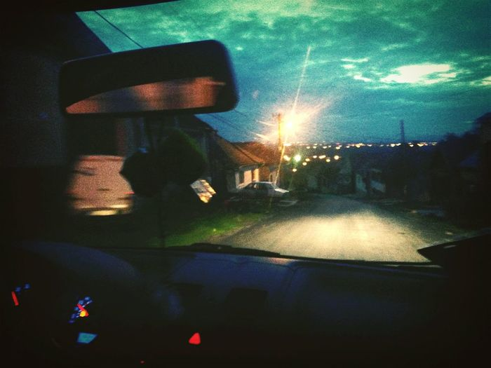 Car Trip Night View Music Lamp Post Houses And Homes Hills Driving Around Relaxing Horizon Volkswagen Tow People One Love Let's Go. Together.