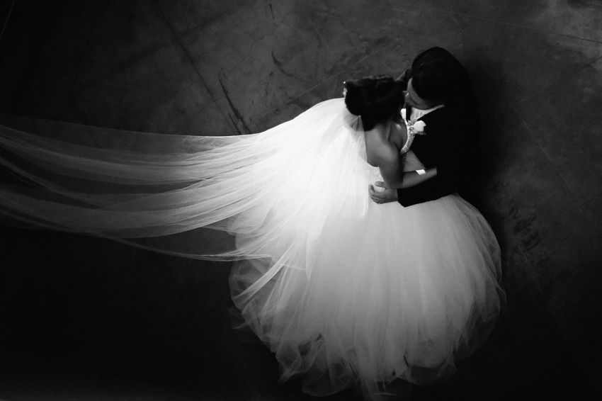 Black And White Contrast Kiss Wedding