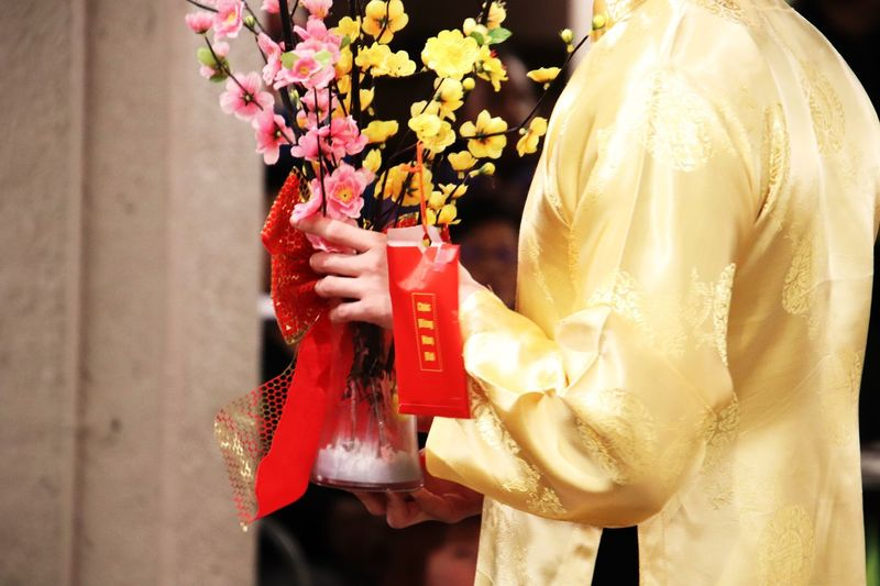 🧧 Lunar New Year Flower Traditional Clothing Red Holding Celebration Event