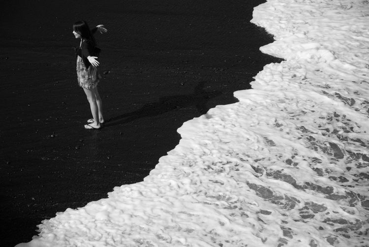 Adult Adults Only Beach Blackandwhite Day Full Length Hawaii One Person Outdoors People Real People Standing Waves Moments Of Happiness