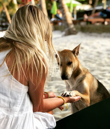 Woman playing dog while sitting outdoors