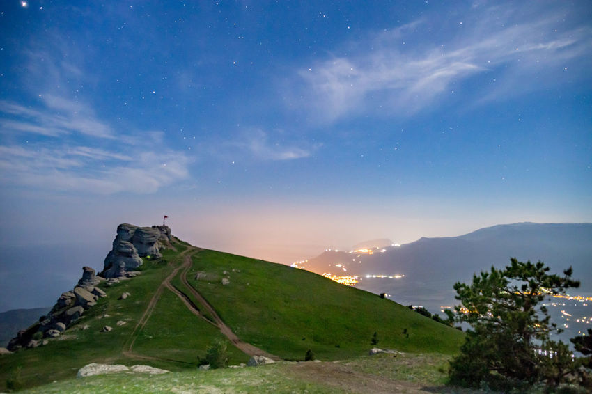 Astronomy Beauty In Nature Blue Cloud - Sky Environment Idyllic Land Landscape Mountain Mountain Peak Mountain Range Nature Night No People Non-urban Scene Outdoors Scenics - Nature Sky Space Star - Space Tranquil Scene Tranquility