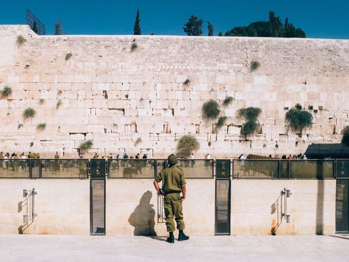 The Wailing Wall. And a soldier. Jerusalem Judaism Extremely Hot Day