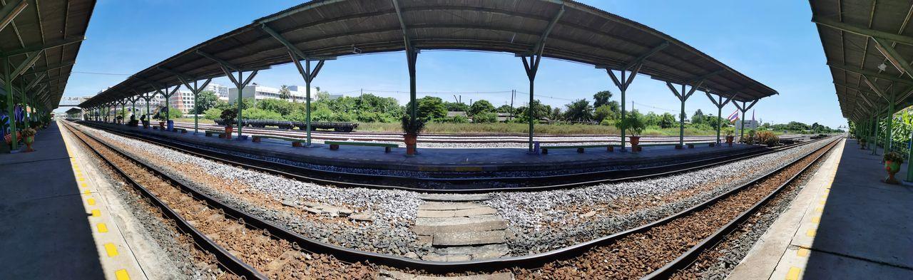 Panoramic shot of railroad tracks against sky