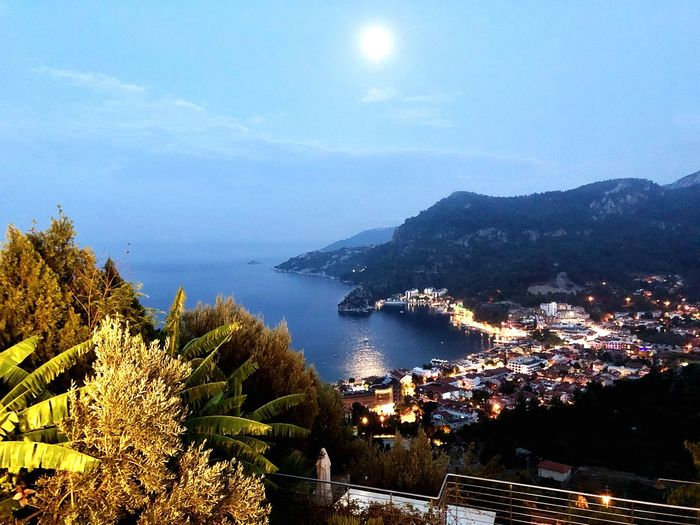 Moonlight Marmaris, Turkey Moon Water Sea Plant Sky Tree Beauty In Nature Nature No People Scenics - Nature Beach High Angle View Tranquil Scene