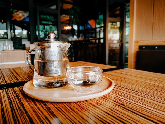 Tea set in the restaurant