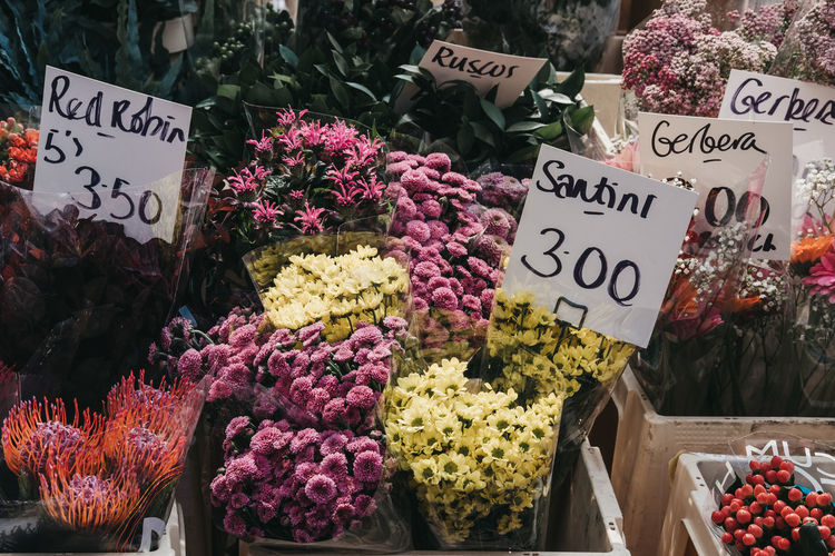 High angle view of colorful flowers for sale at market