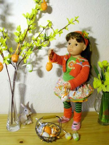 Child Doll Easter Easterbunny Flowers Forsythia Girl Indoors  Primula Spring