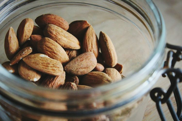 Close-up of almonds in jar