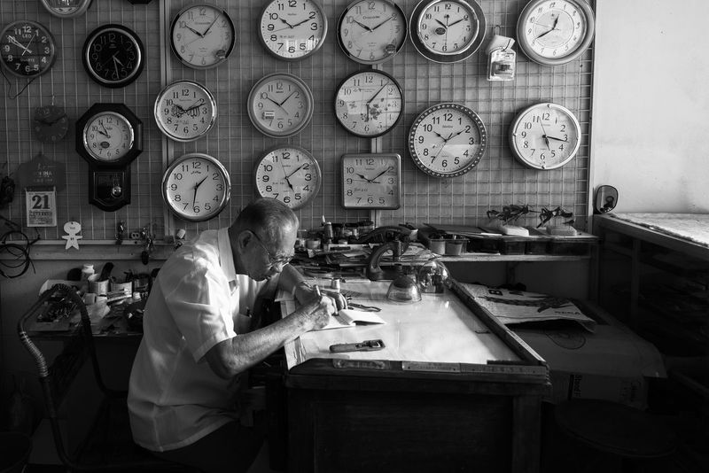 Watch The Clock Watch Repair Livelihood Time Miniature Tools Watchmaker Magnifying Loupe Craftsman White Haired Man Clockmaker