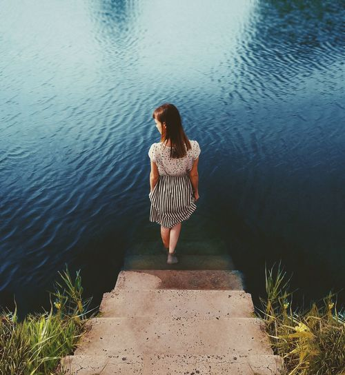 Nature Water Young Women Full Length Lake Standing Summer Beautiful Woman Women Reflection Rippled Calm Ankle Deep In Water EyeEmNewHere