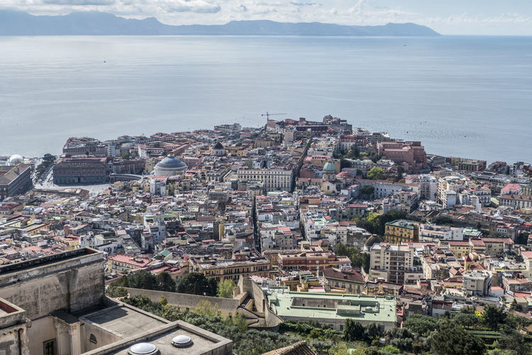 Aerial view of naples with capri in background