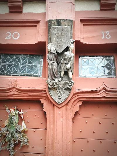 20 18 2018 Day Statue Red Wooden Doors Door Reinforced Door Old Ancient French Outside Tradition Culture Style House Low Angle View Old Town Scenics Winter Door Architecture Day Outdoors Wood - Material No People Built Structure Building Exterior Close-up Full Frame EyeEm Ready