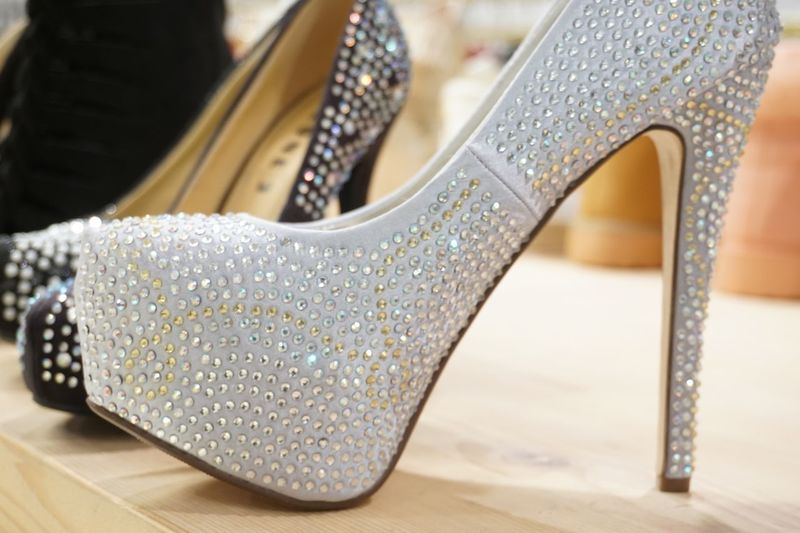 Close-up of high heels for sale at store