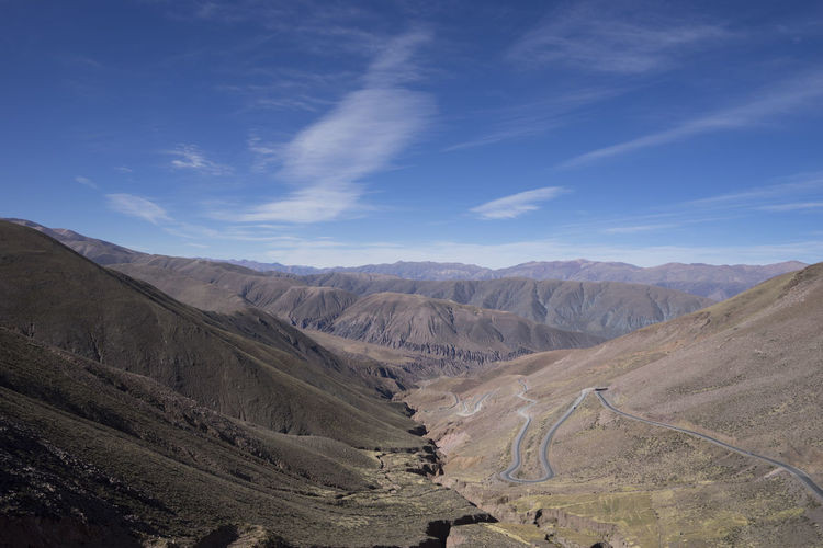 Winding Roads in Argentina Argentina Arid Climate Barren Beauty In Nature Blue Day Desert Geology Horizon Over Land Landscape Mountain Mountain Range Nature Non-urban Scene Outdoors Physical Geography Remote Scenics Sky Tranquil Scene Tranquility