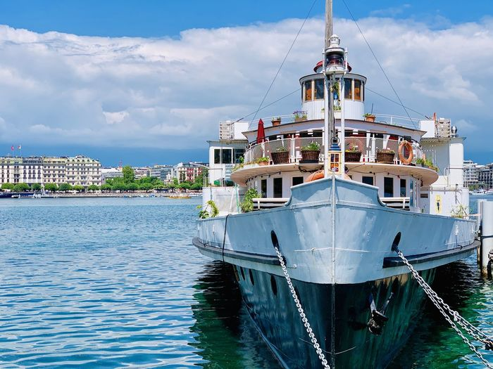Docked Vessel Sky Water Nautical Vessel Mode Of Transportation Transportation Architecture Built Structure Nature Building Exterior No People Day Sea Waterfront Cloud - Sky Moored Travel Outdoors Passenger Craft Luxury Sailboat Yacht Vessel Ship Old Boat Paddle Boats Paddle Steamer Paddlesteamer