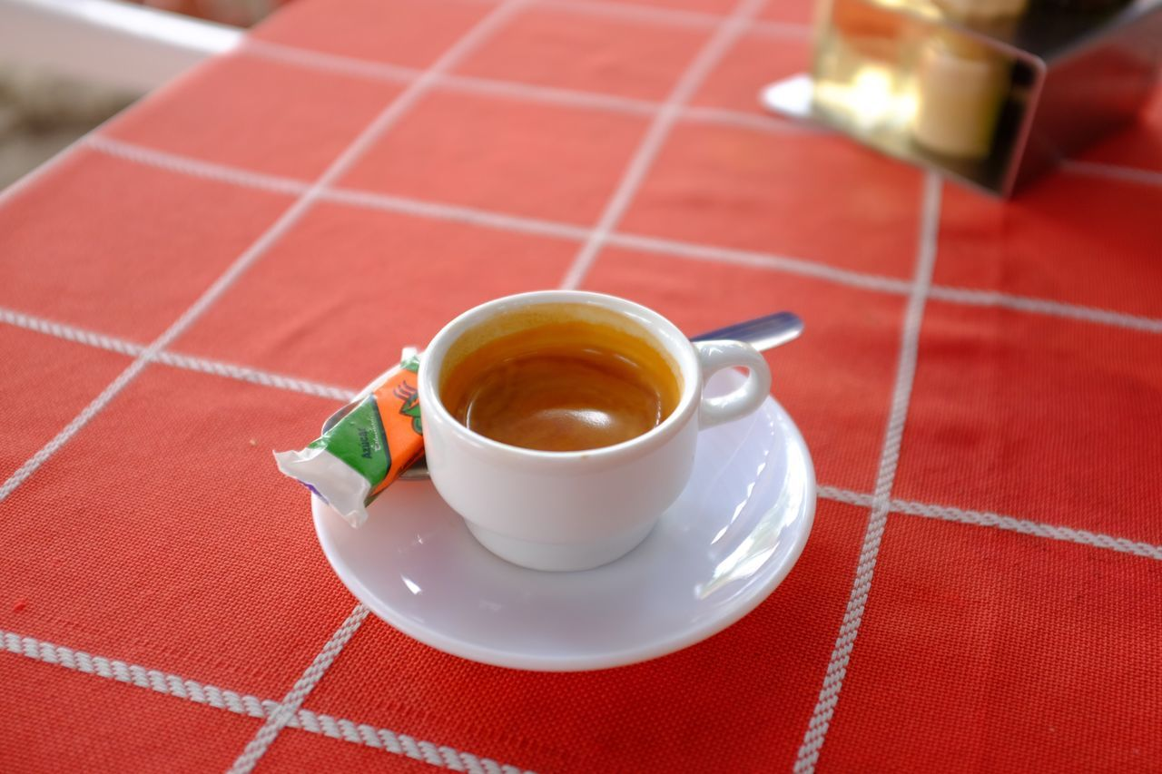 coffee cup, drink, refreshment, food and drink, cup, coffee - drink, saucer, red, table, freshness, no people, indoors, food, close-up, day