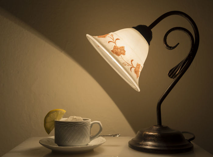 Cup of Tea Antique Close-up Coffee - Drink Coffee Cup Color Cup Cup Of Tea Drink Freshness Illuminated Indoors  Lamp Limon Night No People Old Retro Side View Table Table Lamp Tea Tea - Hot Drink Tea Culture Tea Time