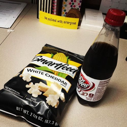 Some days you need popcorn and a diet dr pepper to help get you through. Humpday SnackAttack WhiteCheddarIsMyCrack