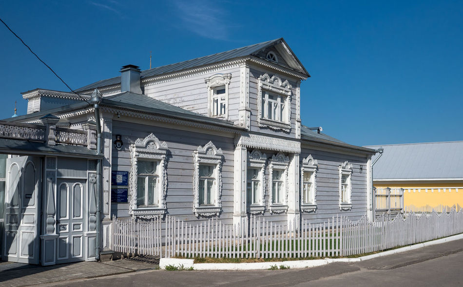 Russia, tourism, wooden house, Kolomna Russia Architectural Column Architecture Barrier Blue Boundary Building Building Exterior Built Structure City Clear Sky Day Fence History Nature No People Outdoors Plant Railing Sky Sunlight Wooden House
