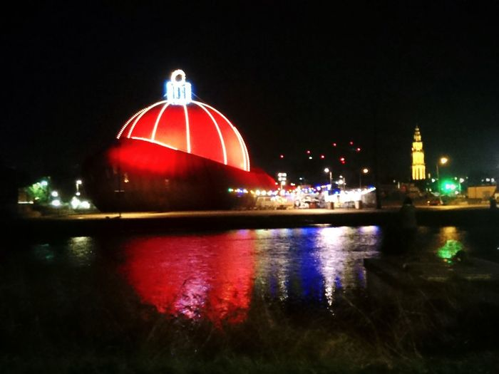 Christmas decoration Christmas Lights Christmas Time Martinitower DOT _ Building Night Reflection Illuminated Red No People Cityscape Architecture Outdoors Water