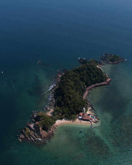 High angle view of island amidst sea