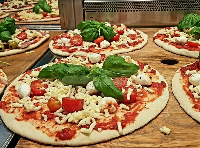 High angle view of pizza served in plate