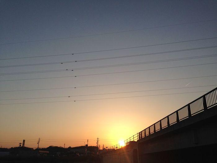 夕陽 夕焼け Sunset 空 Sky 電線 Electric Wire グラデーション Gradation