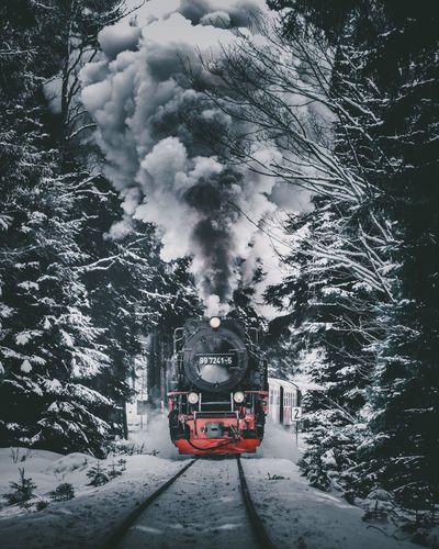 Winter Snow Cold Temperature Transportation Weather Nature Mode Of Transport Travel Mountain Frozen Locomotive Outdoors Snowing
