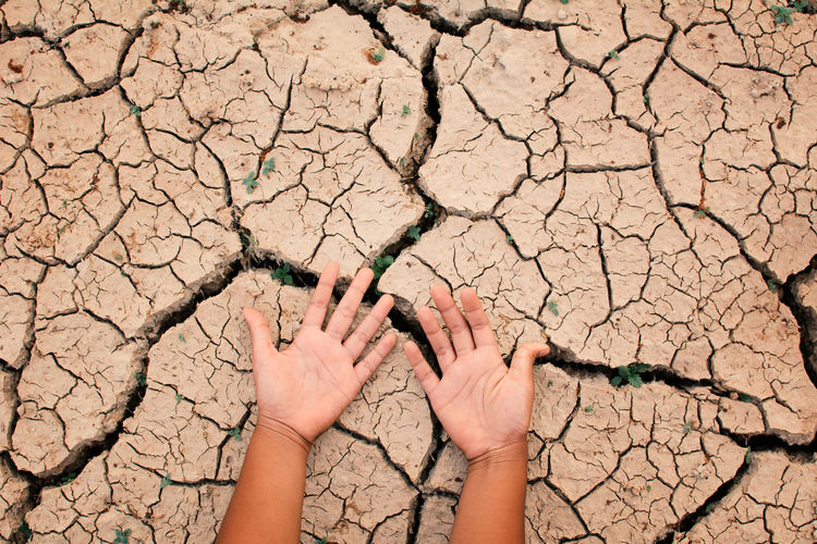 Cropped hands on barren land