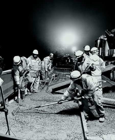 Night People Outdoors Men Adult Construction Workers Black And White Photography Concreting