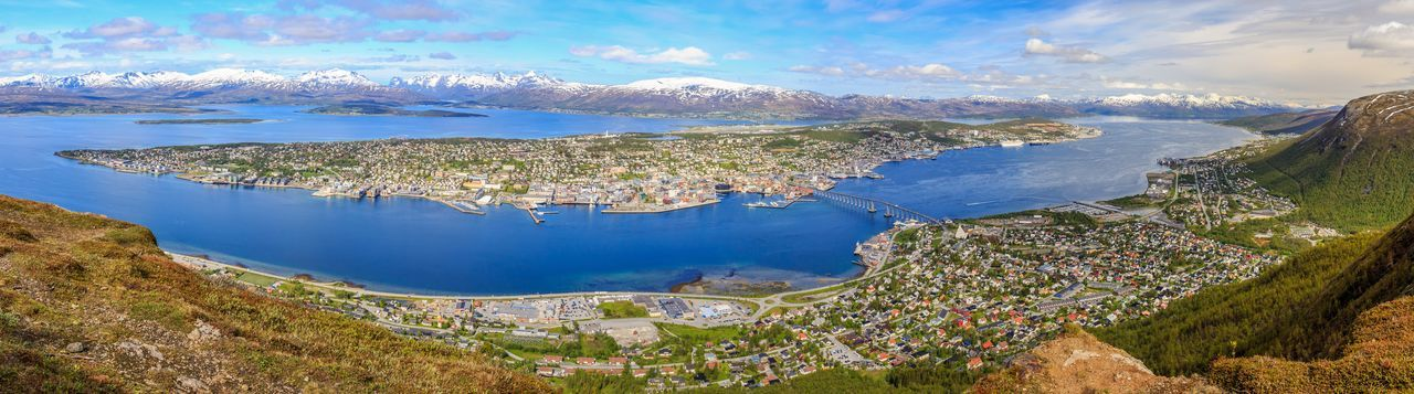 Aerial View Beauty In Nature Cityscape Day Landscape Mountain No People Outdoors Panorama Reservoir Sea Sky Tourism Travel Destinations Tromsø Bridge Water