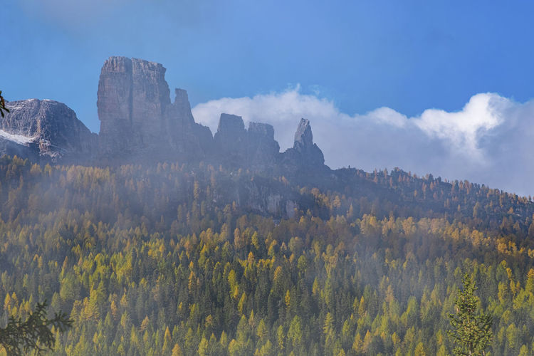 Panoramic view of beautiful landscape with foggy at cortina italy.