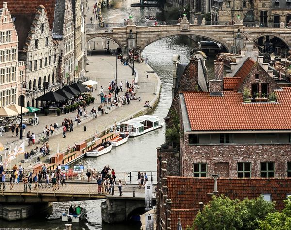 Canal Canale  Barche Fiume Case Medieval Architecture Belgium Tranquil Scene City Day Urban Skyline Sky Abitazioni