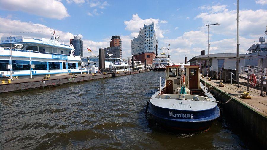 At the Elbe river looking at the Elbphilharmonie. · Hamburg Germany Hh 040 Hansestadt Hamburg Hamburger Hafen Harbor Port Elbe Elbe River Elbphilharmonie Elphi ❤️ Opéra Architecture Cityscape Urban Landscape Clouds And Sky Blue Sky