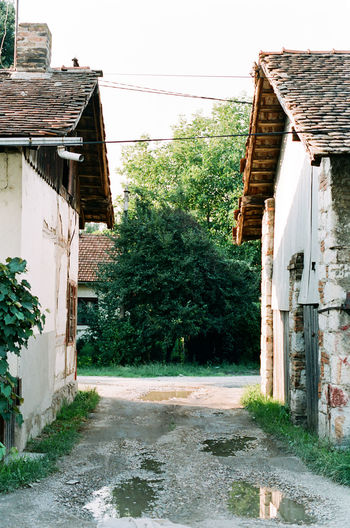 Analogue Photography Old Place Ruins Abandoned Architecture Building Building Exterior Built Structure Clear Sky Day Filmisnotdead House Nature No People Old Outdoors Passage Plant Residential District Roof Sky Tree Village Water