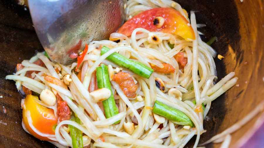 Chinese Food Chinese Takeout Close-up Day Food Food And Drink Freshness Gourmet Healthy Eating Homemade Indoors  Meal No People Noodles Papaya Ready-to-eat Somtum Vegetable