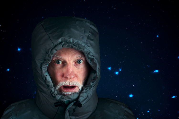confused senior at night in heavy winter clothes Surprised Adult Black Background Close-up Clothing Confused Emotion Fear Front View Headshot Looking At Camera Men Mouth Mouth Open Nature Night One Person Portrait Real People Self Portrait Selfprotrait Warm Clothing Winter The Portraitist - 2018 EyeEm Awards