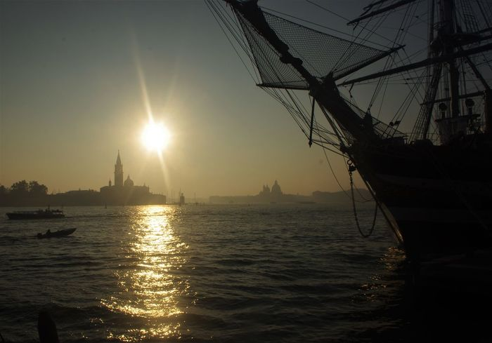 Venice sunset.... Autumn Connected By Travel Marina Militare Italiana Beauty In Nature Nautical Vessel Outdoors Sailing Sailing Ship Sea Shadows Silhouette Sky Sunlight Sunset Tall Ship Tranquility Transportation Water