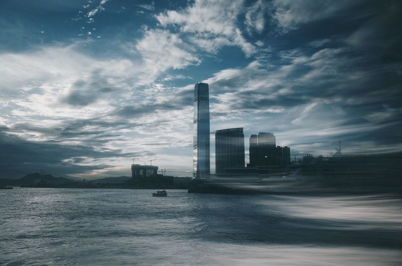 Hong Kong Hong Kong Architecture Multiple Exposures Victoria Harbour Architecture Bay Building Exterior Built Structure City Cityscape Cloud - Sky Day Landscape Modern Nature Office Building Exterior Sea Sky Skyscraper Tall - High Water Waterfront The Architect - 2018 EyeEm Awards The Creative - 2018 EyeEm Awards