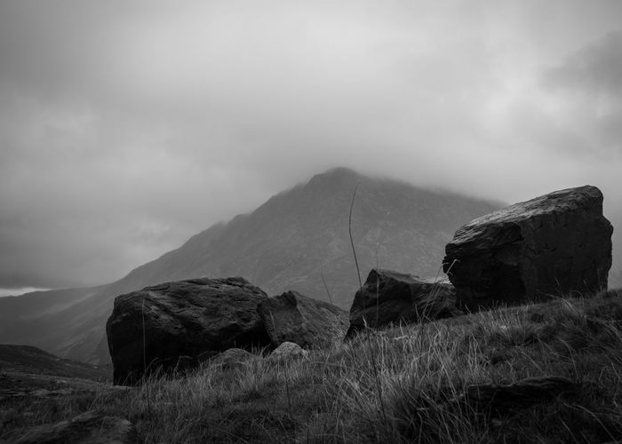 Cwm Idwal Beauty In Nature Black And White Black And White Photography Cloud - Sky Day Fog Grass Landscape Llyn Idwal Mountain Nature No People Outdoors Peak Scenics Sky Tranquil Scene Tranquility
