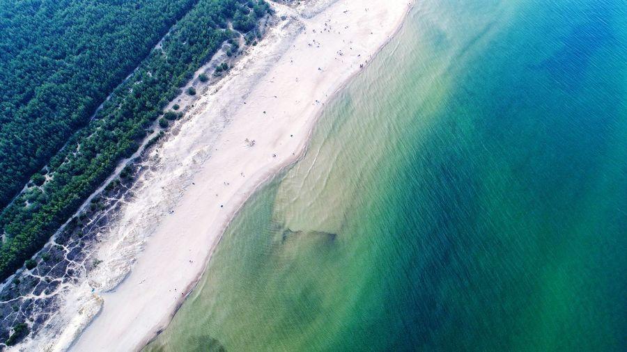 Aerial view on the baltic sea beach in poland