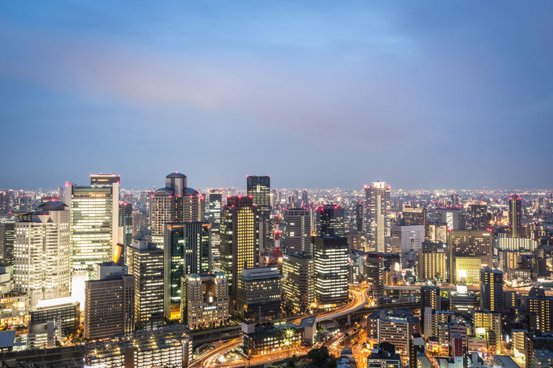 Osaka skyline in the Kansai province of Japan. Osaka is one of Japan largest city. Architecture ASIA Building Exterior City City Life Cityscape Development High Angle View Illuminated Japan Kansai Modern Night No People OSAKA Outdoors Sky Skyscraper Sunset Travel Travel Destinations Twilight Urban Skyline