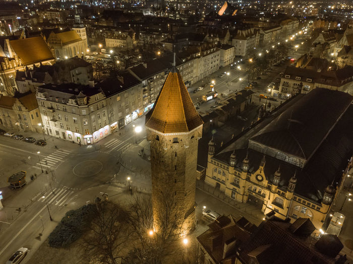 Jack tower in gdansk at night