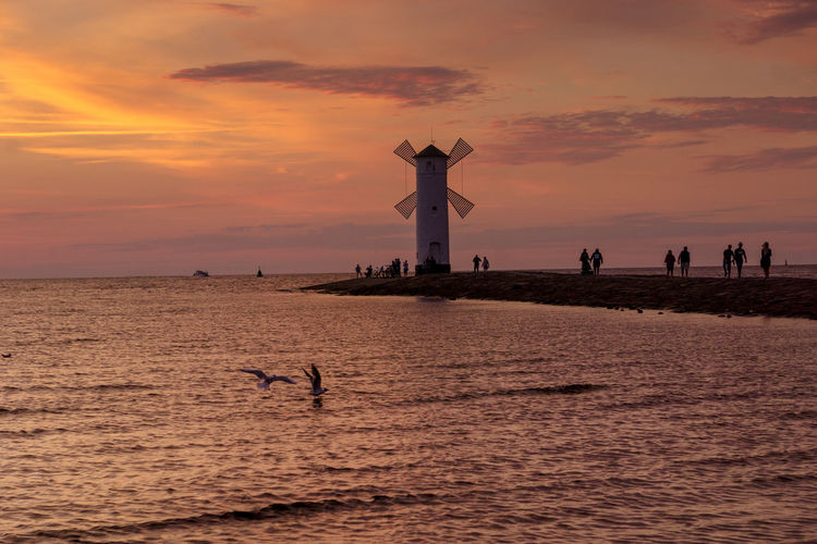 Baltic Sea Stawa Mlyny Tranquility Beauty In Nature Bird Cloud - Sky Horizon Over Water Idyllic Orange Color Scenics - Nature Sea Silhouette Sky Sunset Tranquil Scene Travel Destinations Water Waterfront The Great Outdoors - 2018 EyeEm Awards The Traveler - 2018 EyeEm Awards