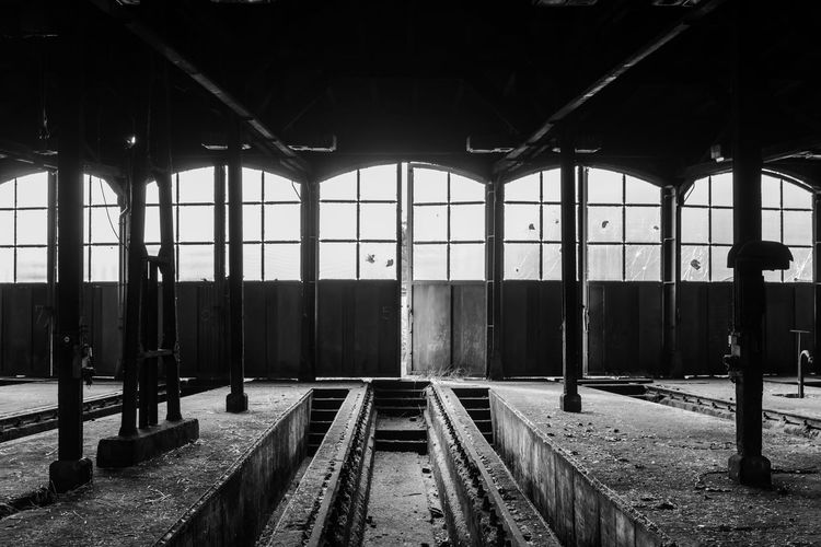Abandoned Abandoned Places Architectural Column B&w Black And White Door Engine Shed Forgotten Places  Glass Journey Lokschuppen Public Transport Railroad Track Rails The Way Forward Track Train Track Transportation Transportation Building - Type Of Building Urbex Urbexphotography